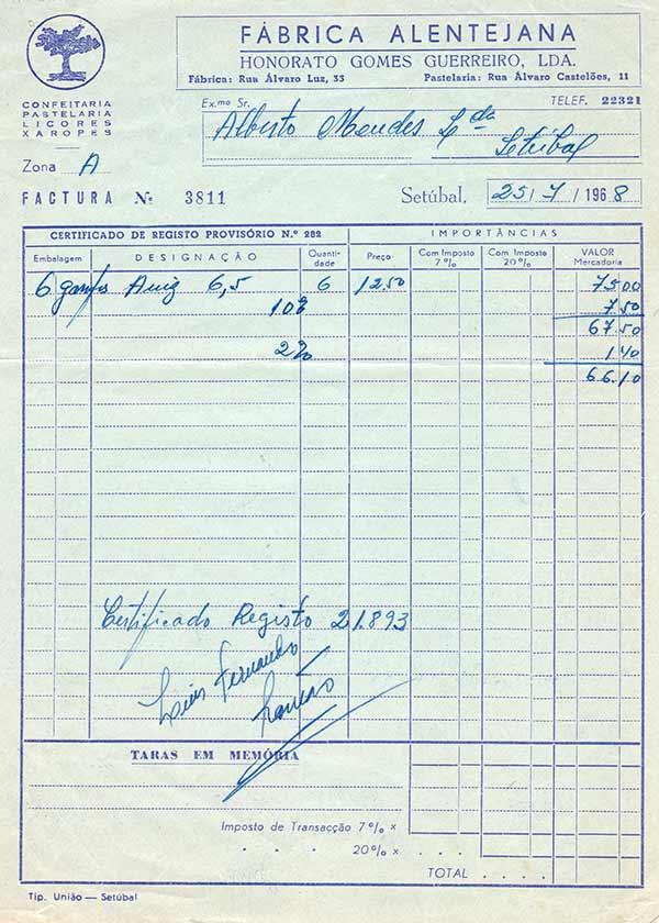 Factura da Fábrica Alentejana, 1968, Colecção Particular