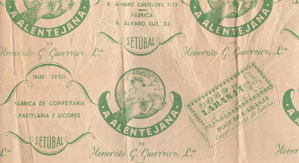 Papel de embrulho da Confeitaria/ Pastelaria Alentejana, anos 50 /60 do século XX. Colecção Particular