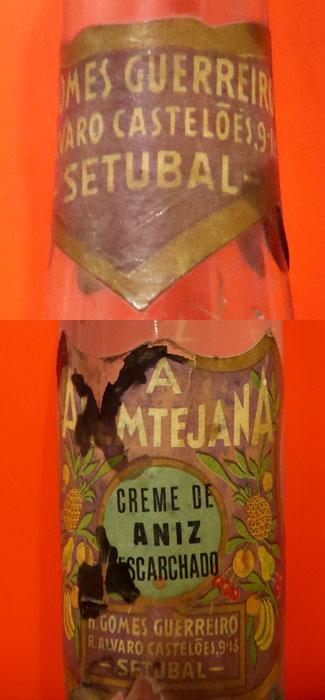 Rótulo e Garrafa de anis, anos 50 do século XX, Fábrica Alentejana. Colecção Particular