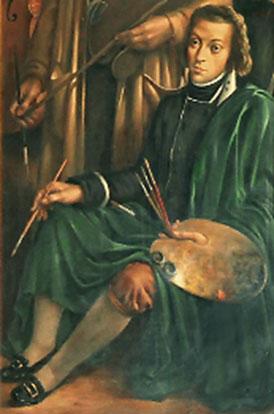 """""""Retrato do Pintor"""" num pormenor de um tríptico intitulado """"Setubalenses ilustres"""", localizado no salão nobre do edifício da CMS, da autoria de Rick Morais, com data desconhecida"""