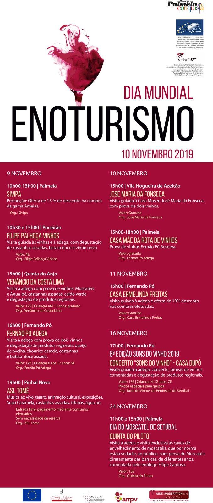 No próximo dia 10 de novembro celebra-se o Dia Mundial do Enoturismo, uma data especial que será comemorada em Palmela com inúmeras sugestões vitivinícolas